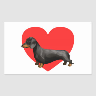 Dachshund Heart Rectangle Stickers