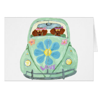 Dachshund Hippies In Their Flower Love Mobile Card