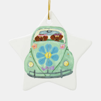 Dachshund Hippies In Their Flower Love Mobile Ceramic Ornament