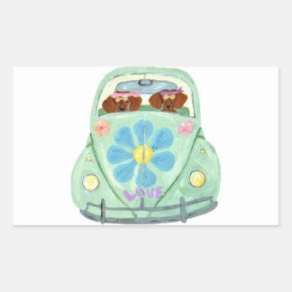 Dachshund Hippies In Their Flower Love Mobile Sticker
