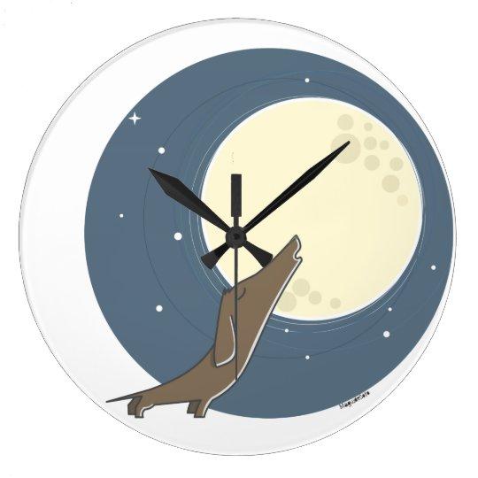 Dachshund howling AT the moon Wall Clocks