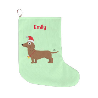 Dachshund in a Santa Hat Large Christmas Stocking