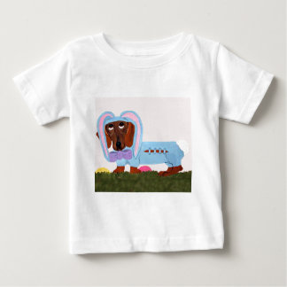 Dachshund In Blue Easter Bunny Suit Baby T-Shirt