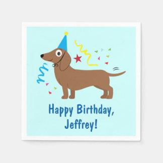 Dachshund in Cartoon Birthday Name Customizable Paper Napkins