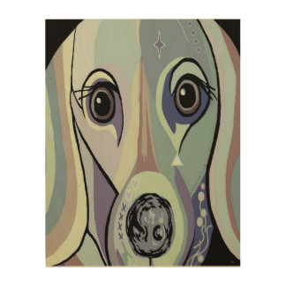Dachshund in Denim Colors Wood Print