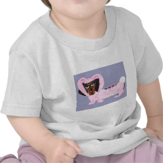 Dachshund In Fuzzy Pink Bunny Suit Tee Shirt