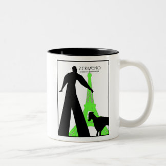 """Dachshund in Paris"" from ZermenoGallery.com Two-Tone Coffee Mug"
