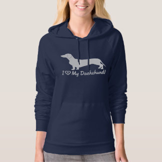 Dachshund in Silhouette with Paw Print Hoodie