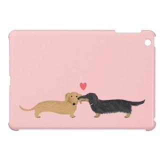 Dachshund Kiss with Heart on Pink iPad Mini Case