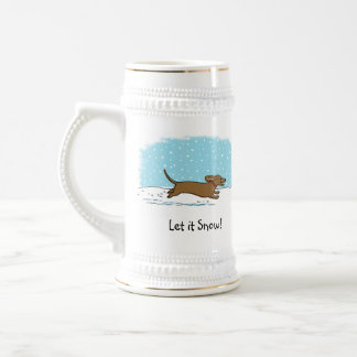Dachshund Let it Snow - Happy Winter Wiener Dog Beer Stein