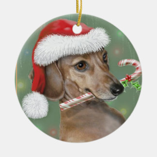 Dachshund Lilly's Christmas Ceramic Ornament