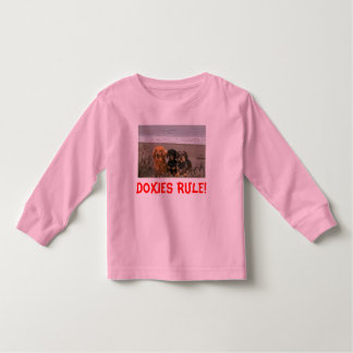 Dachshund Little Girl T-Shirt On The Beach