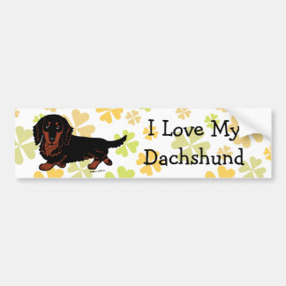 Dachshund Long Haired Black and Tan Bumper Sticker