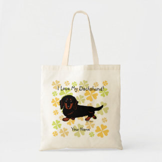 Dachshund Long Haired Black and Tan Tote Bag