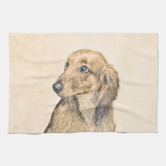 Dachshund (Longhaired) 2 Painting Original Dog Art Kitchen Towel