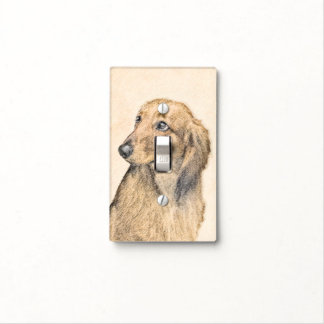 Dachshund (Longhaired) 2 Painting Original Dog Art Light Switch Cover