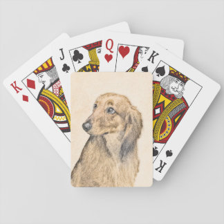 Dachshund (Longhaired) 2 Painting Original Dog Art Playing Cards