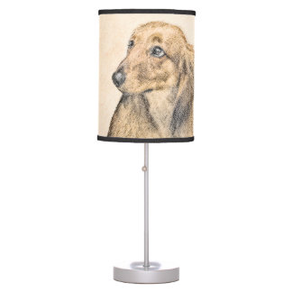 Dachshund (Longhaired) 2 Painting Original Dog Art Table Lamp