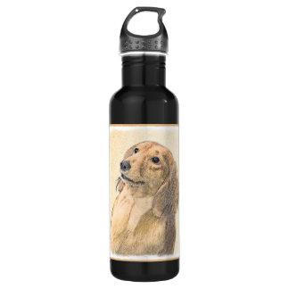 Dachshund (Longhaired) Painting - Original Dog Art 710 Ml Water Bottle