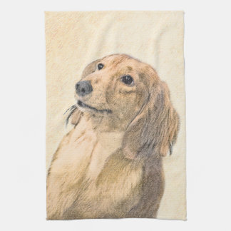 Dachshund (Longhaired) Painting - Original Dog Art Kitchen Towel