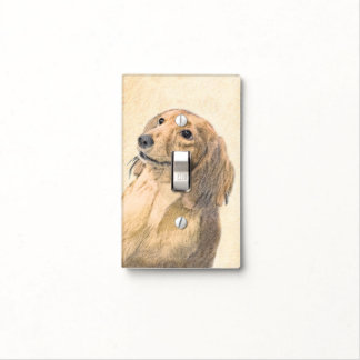 Dachshund (Longhaired) Painting - Original Dog Art Light Switch Cover