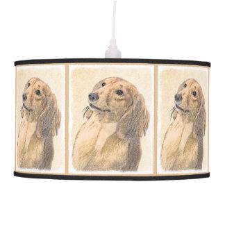 Dachshund (Longhaired) Painting - Original Dog Art Pendant Lamp