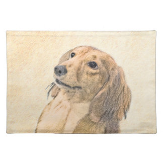 Dachshund (Longhaired) Painting - Original Dog Art Placemat