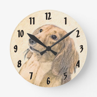 Dachshund (Longhaired) Painting - Original Dog Art Round Clock