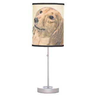 Dachshund (Longhaired) Painting - Original Dog Art Table Lamp