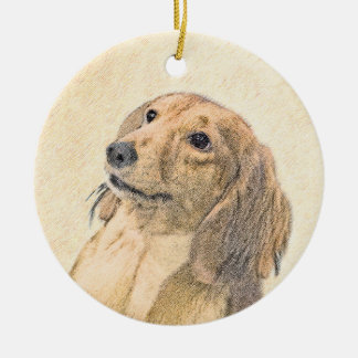 Dachshund (Longhaired) Round Ceramic Ornament