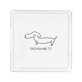 Dachshund Love Acrylic Tray