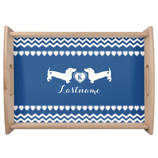 Dachshund Love and Hearts with Monogram Serving Platter