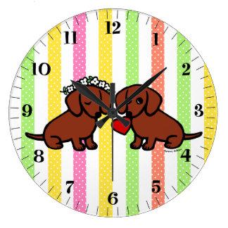 Dachshund Love Couple Cartoon Large Clock