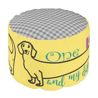 Dachshund Love My Cute Dog Funny Wiener Tartan Pouf