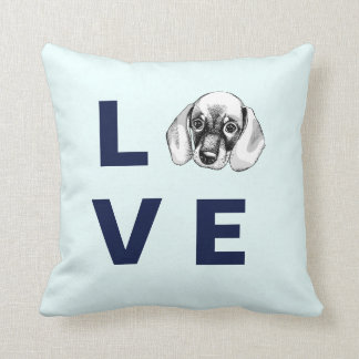 Dachshund LOVE puppy baby blue pillow