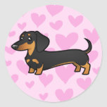Dachshund Love (smooth coat) Round Stickers