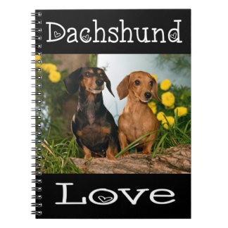 Dachshund Love Tan& Black Puppy Dog Notebooks