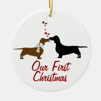 Dachshund Lovers First Christmas Custom Ceramic Ornament