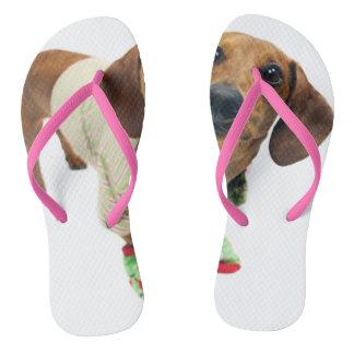 Dachshund - merry christmas - cute dog flip flops