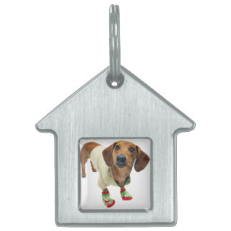 Dachshund - merry christmas - cute dog pet ID tag