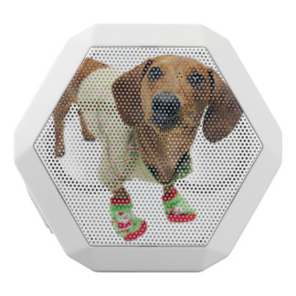 Dachshund - merry christmas - cute dog white bluetooth speaker