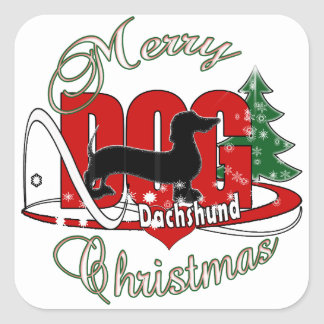 DACHSHUND MERRY CHRISTMAS SQUARE STICKER