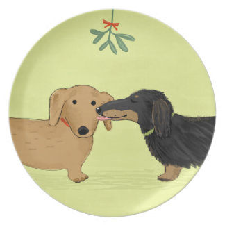 Dachshund Mistletoe Kiss - Wiener Dog Christmas Plate