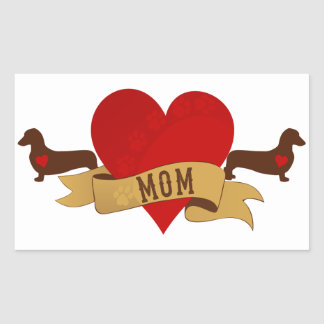 Dachshund Mom Tattoo style Rectangle Stickers