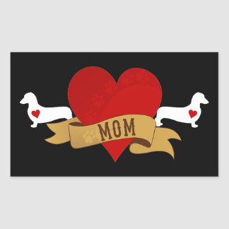 Dachshund Mom [Tattoo style] Rectangle Stickers