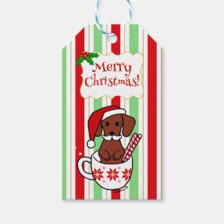 Dachshund Moustache Christmas Cartoon Gift Tags