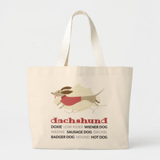 Dachshund Nicknames Large Tote Bag
