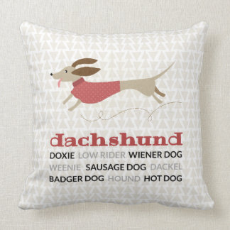 Dachshund Nicknames Throw Pillow