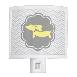Dachshund Night Light Yellow and Gray for Nursery