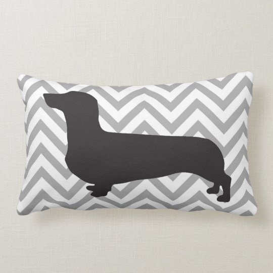 Dachshund on grey and white chevron -pillow lumbar pillow